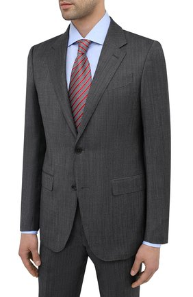 Мужской костюм из шерсти и шелка ERMENEGILDO ZEGNA темно-серого цвета, арт. 816598/221225 | Фото 2