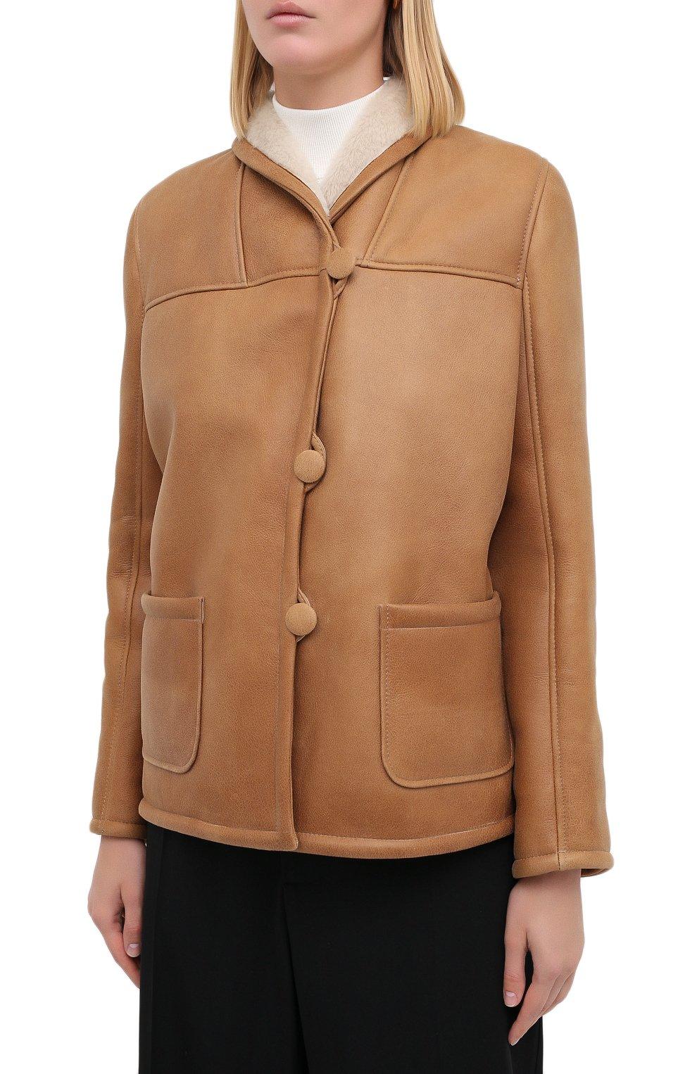 Женская дубленка MASLOV светло-коричневого цвета, арт. SMW070 | Фото 4