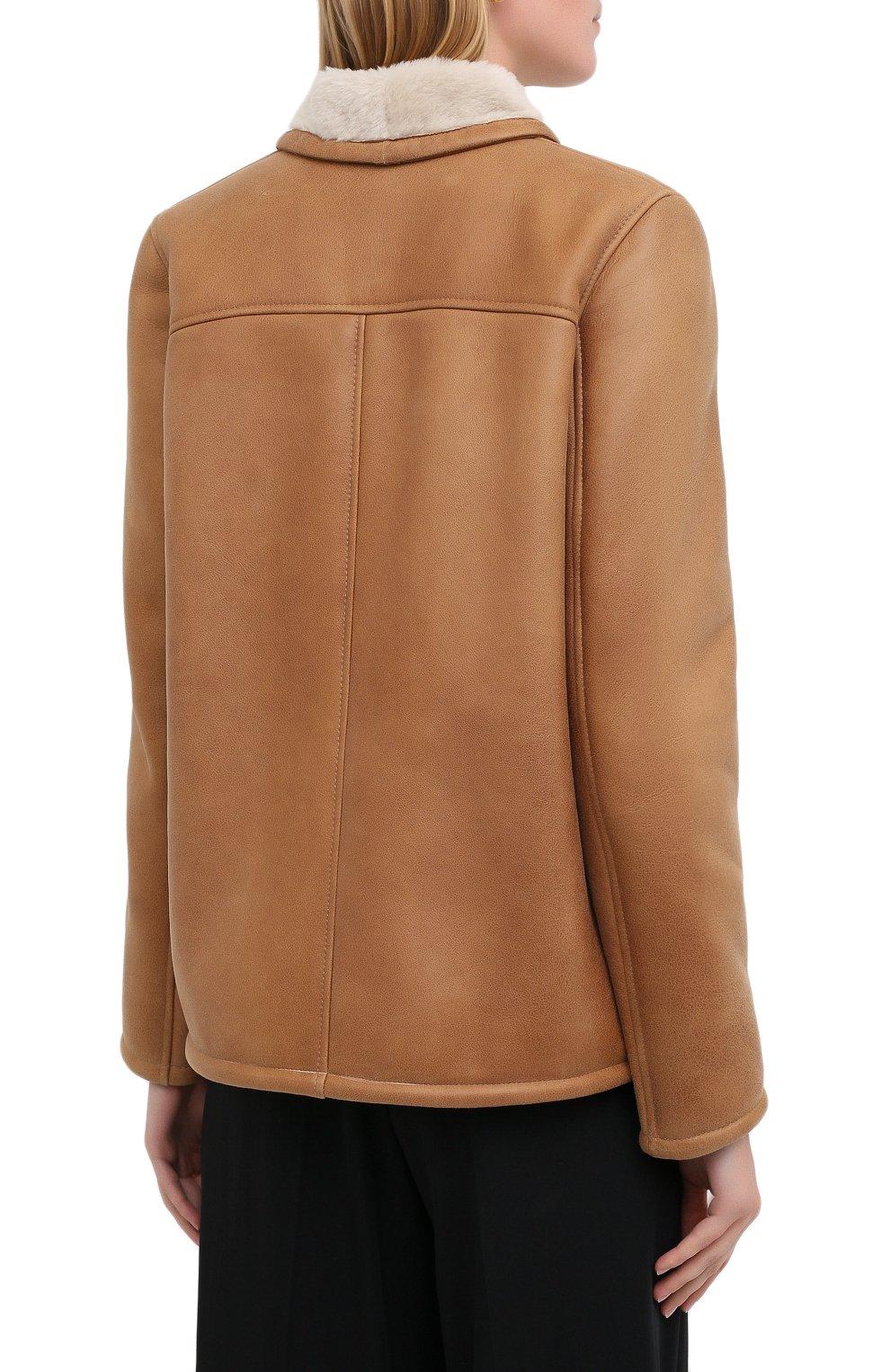Женская дубленка MASLOV светло-коричневого цвета, арт. SMW070 | Фото 5