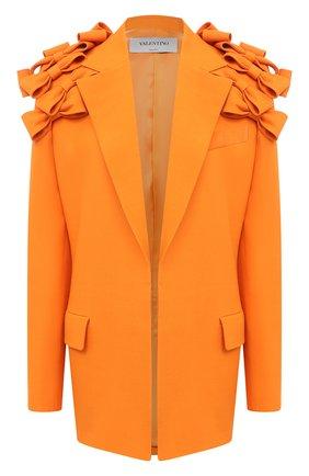 Женский жакет из шерсти и шелка VALENTINO оранжевого цвета, арт. UB3CE1X01CF   Фото 1