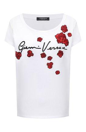 Женская хлопковая футболка VERSACE белого цвета, арт. A87466/A228806 | Фото 1