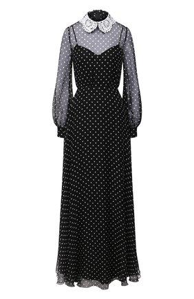 Женское шелковое платье VALENTINO черно-белого цвета, арт. UB3VDB105KN | Фото 1