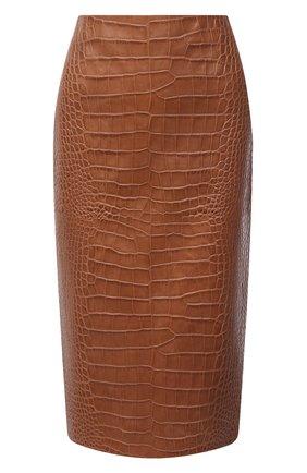 Женская кожаная юбка RALPH LAUREN коричневого цвета, арт. 290815876 | Фото 1