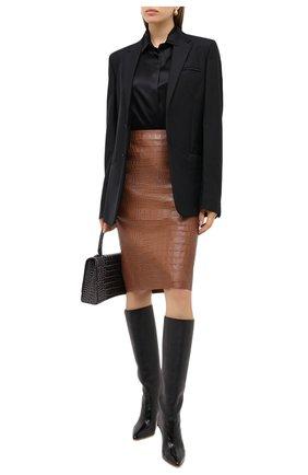 Женская кожаная юбка RALPH LAUREN коричневого цвета, арт. 290815876 | Фото 2