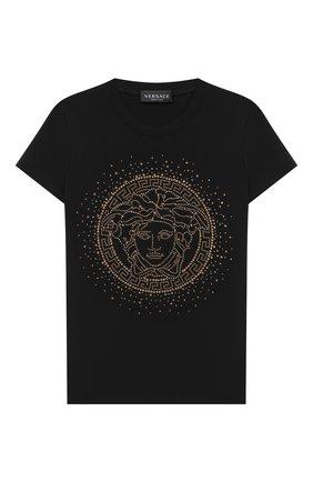 Детская хлопковая футболка VERSACE черного цвета, арт. YC000438/YA00019/8A-14A | Фото 1