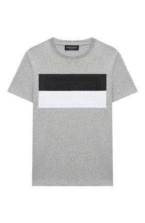 Детская хлопковая футболка VERSACE серого цвета, арт. YD000265/YA00079/8A-14A | Фото 1