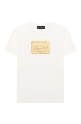 Детская хлопковая футболка VERSACE белого цвета, арт. YD000323/YA00079/8A-14A | Фото 1