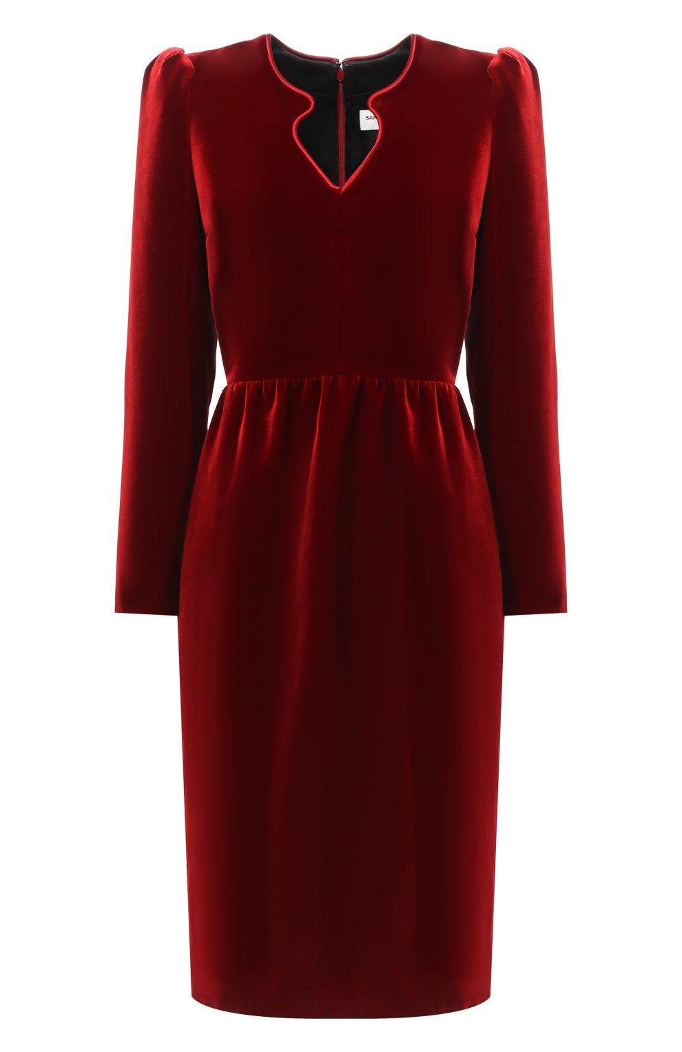 Женское бархатное платье SAINT LAURENT красного цвета, арт. 633528/Y525R   Фото 1 (Случай: Коктейльный; Материал внешний: Купро, Вискоза; Рукава: Длинные; Женское Кросс-КТ: платье-футляр, Платье-одежда; Длина Ж (юбки, платья, шорты): До колена; Материал подклада: Шелк)