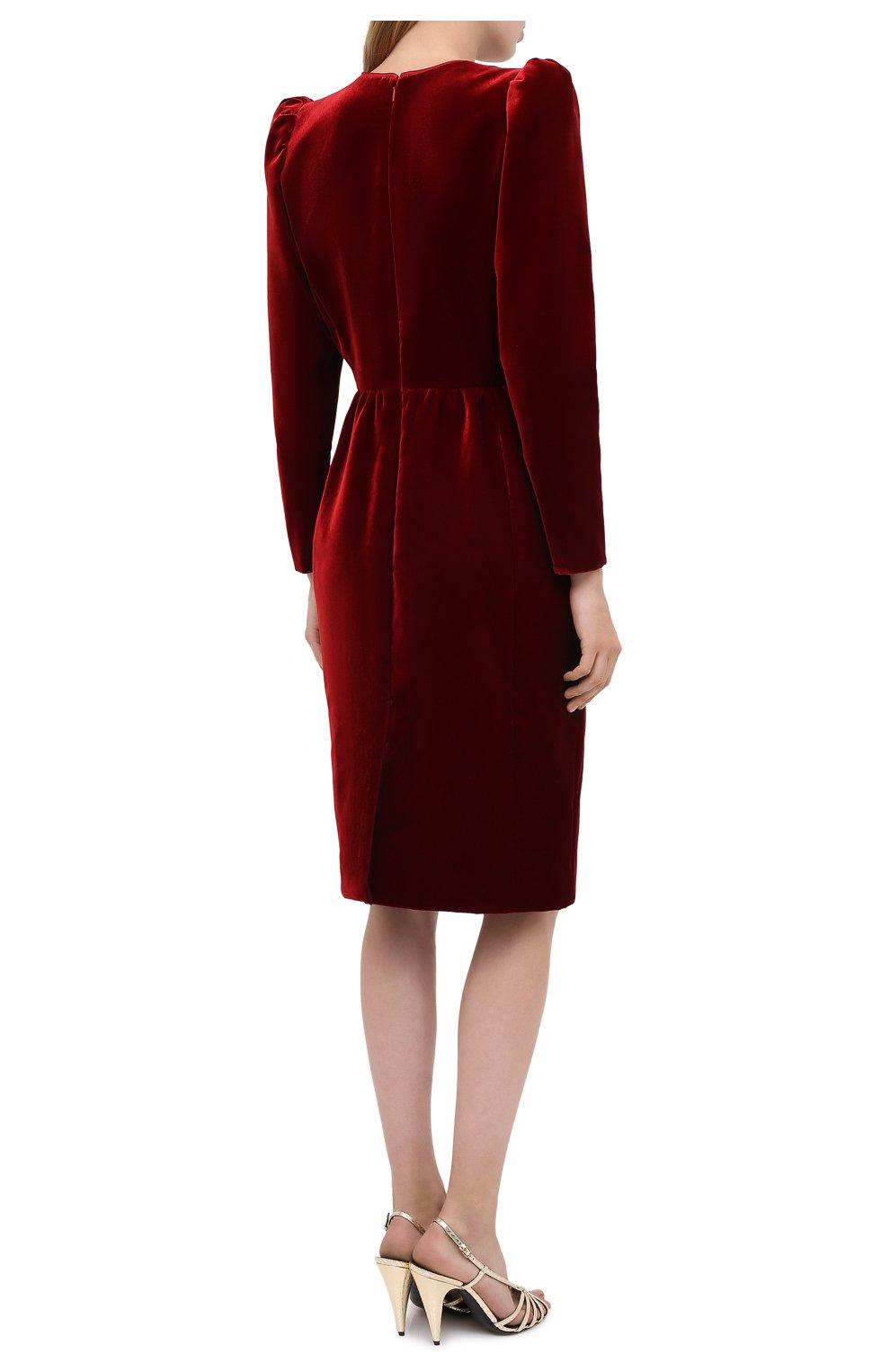 Женское бархатное платье SAINT LAURENT красного цвета, арт. 633528/Y525R   Фото 4 (Случай: Коктейльный; Материал внешний: Купро, Вискоза; Рукава: Длинные; Женское Кросс-КТ: платье-футляр, Платье-одежда; Длина Ж (юбки, платья, шорты): До колена; Материал подклада: Шелк)