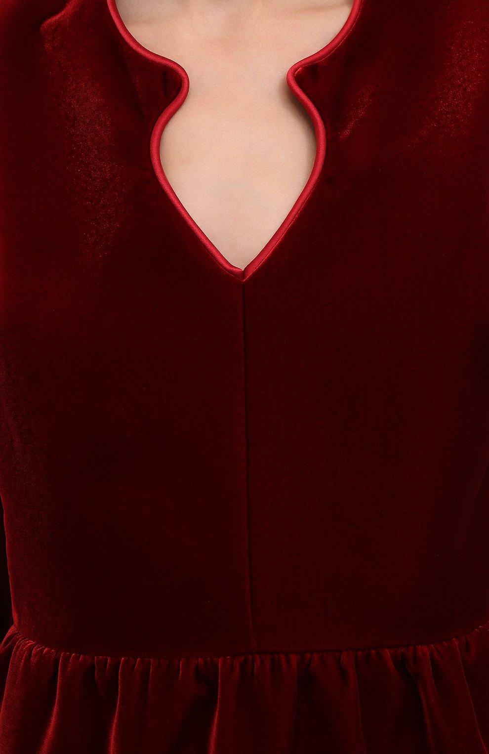 Женское бархатное платье SAINT LAURENT красного цвета, арт. 633528/Y525R   Фото 5 (Случай: Коктейльный; Материал внешний: Купро, Вискоза; Рукава: Длинные; Женское Кросс-КТ: платье-футляр, Платье-одежда; Длина Ж (юбки, платья, шорты): До колена; Материал подклада: Шелк)