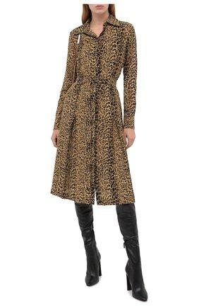 Женское шелковое платье SAINT LAURENT леопардового цвета, арт. 627153/Y5B48 | Фото 2