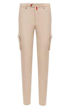 Мужские шерстяные брюки-карго KITON бежевого цвета, арт. UFPPCAK01T88 | Фото 1
