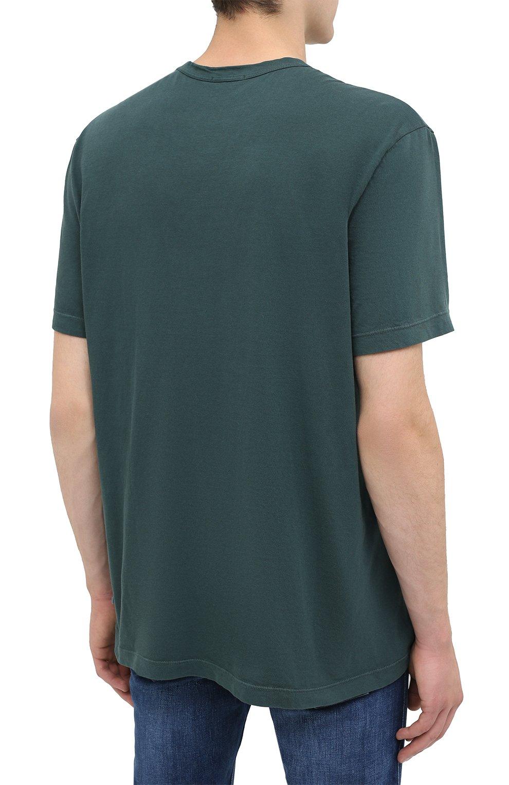 Мужская хлопковая футболка JAMES PERSE темно-зеленого цвета, арт. MLJ3311 | Фото 4
