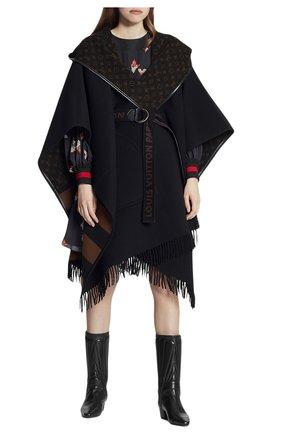 Женская шерстяная накидка LOUIS VUITTON черного цвета, арт. 1A83TK | Фото 2