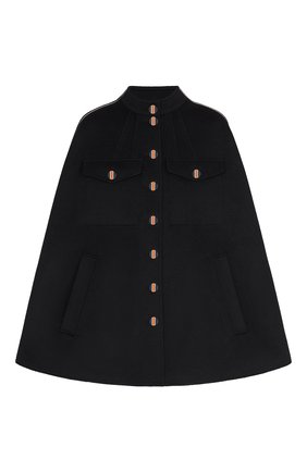Женская шерстяное пончо LOUIS VUITTON черного цвета, арт. 1A825T | Фото 1