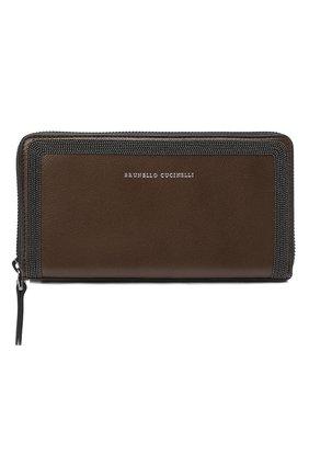 Женские кожаный кошелек BRUNELLO CUCINELLI коричневого цвета, арт. MWSMD1354 | Фото 1