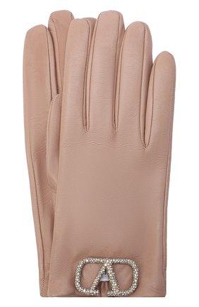 Женские кожаные перчатки VALENTINO бежевого цвета, арт. UW2GDA00/NEB | Фото 1 (Материал: Кожа)
