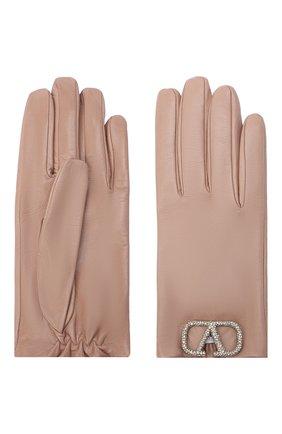 Женские кожаные перчатки VALENTINO бежевого цвета, арт. UW2GDA00/NEB | Фото 2 (Материал: Кожа)