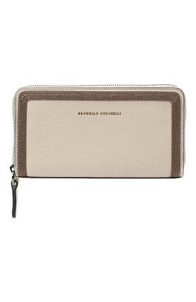 Женские кожаный кошелек BRUNELLO CUCINELLI бежевого цвета, арт. MWSMD1354 | Фото 1