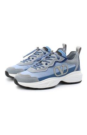 Женские комбинированные кроссовки valentino garavani shegoes VALENTINO голубого цвета, арт. UW2S0AB1/MUC | Фото 1