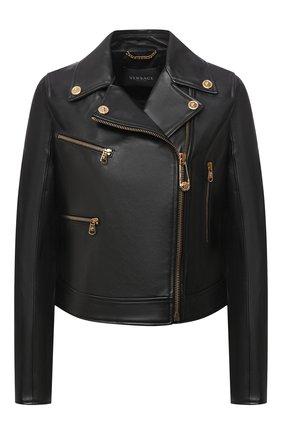 Женская кожаная куртка VERSACE черного цвета, арт. A87221/A234801 | Фото 1