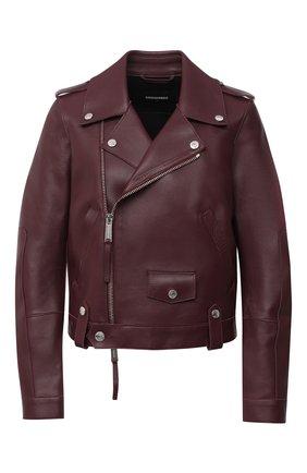 Женская кожаная куртка DSQUARED2 бордового цвета, арт. S75AM0794/SY1496 | Фото 1