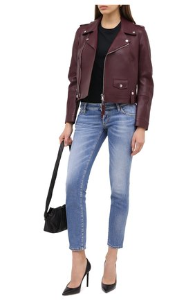 Женская кожаная куртка DSQUARED2 бордового цвета, арт. S75AM0794/SY1496 | Фото 2