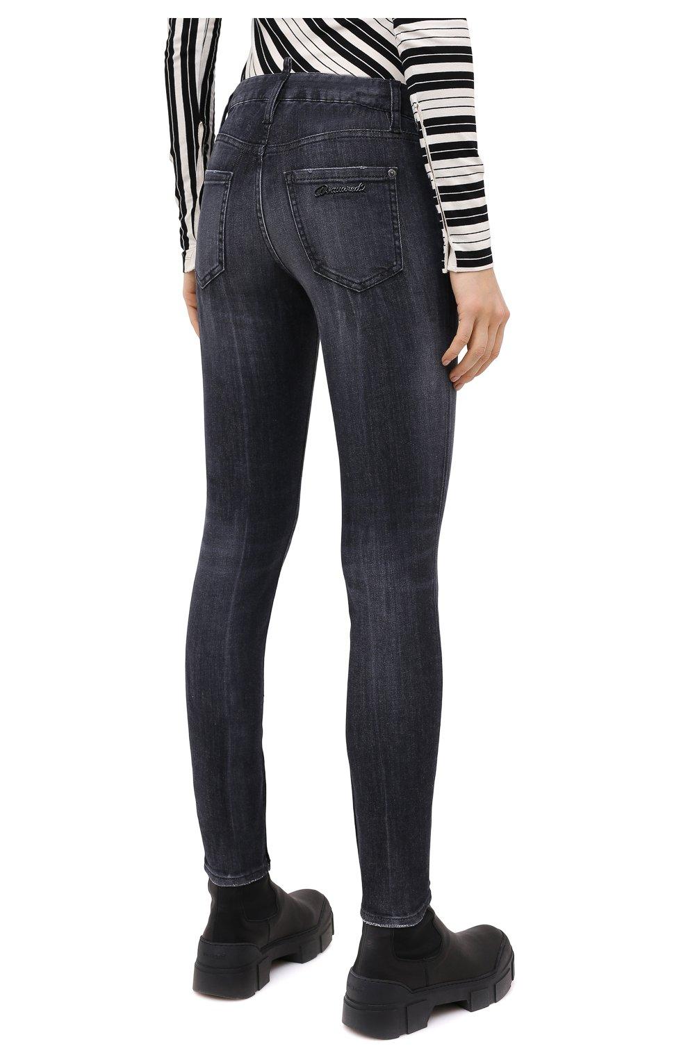 Женские джинсы DSQUARED2 черного цвета, арт. S75LB0381/S30503 | Фото 4