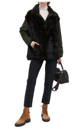Женская куртка с меховой отделкой SIMONETTA RAVIZZA коричневого цвета, арт. DAISY3/TV02B   Фото 2