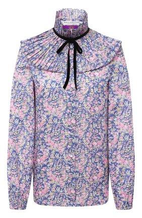Женская хлопковая блузка PHILOSOPHY DI LORENZO SERAFINI голубого цвета, арт. J0221/5748   Фото 1