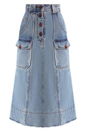 Женская джинсовая юбка PHILOSOPHY DI LORENZO SERAFINI голубого цвета, арт. J0101/5730 | Фото 1
