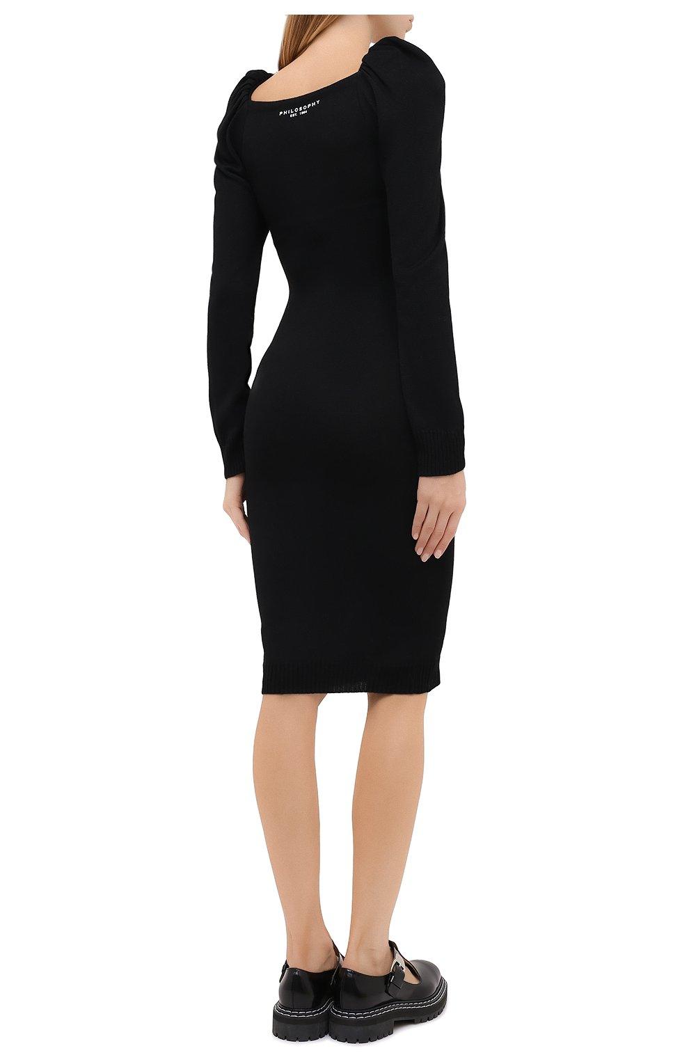 Женское платье из вискозы и шерсти PHILOSOPHY DI LORENZO SERAFINI черного цвета, арт. A0486/5701 | Фото 4