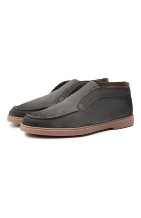 Мужские замшевые ботинки SANTONI серого цвета, арт. MGYA16715TISAPMSG62 | Фото 1