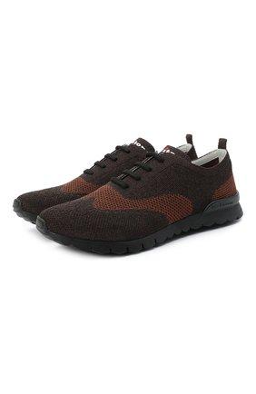 Мужские текстильные кроссовки KITON коричневого цвета, арт. USSCLASN00811 | Фото 1 (Подошва: Массивная; Материал внутренний: Натуральная кожа; Материал внешний: Текстиль; Стили: Классический)