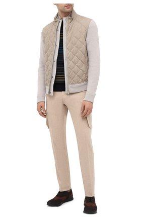 Мужские текстильные кроссовки KITON коричневого цвета, арт. USSCLASN00811 | Фото 2 (Подошва: Массивная; Материал внутренний: Натуральная кожа; Материал внешний: Текстиль; Стили: Классический)