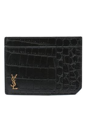 Мужской кожаный футляр для кредитных карт SAINT LAURENT черного цвета, арт. 629908/DZE0W | Фото 1