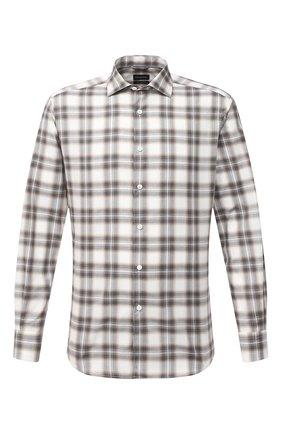 Мужская хлопковая рубашка ERMENEGILDO ZEGNA светло-серого цвета, арт. UVX21/SRF5 | Фото 1