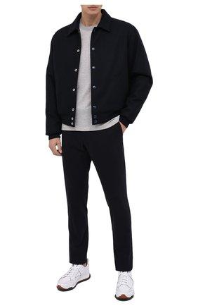 Мужская лонгслив из хлопка и шелка ERMENEGILDO ZEGNA светло-серого цвета, арт. UV572/802 | Фото 2