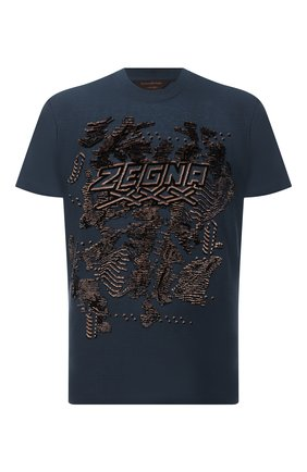 Мужская хлопковая футболка ZEGNA COUTURE синего цвета, арт. CVCJ08/8VJ07 | Фото 1