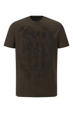 Мужская хлопковая футболка ZEGNA COUTURE хаки цвета, арт. CVCJ07/8VJ06 | Фото 1