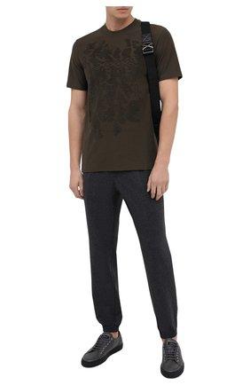 Мужская хлопковая футболка ZEGNA COUTURE хаки цвета, арт. CVCJ07/8VJ06 | Фото 2