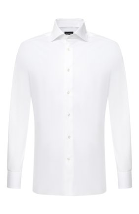 Мужская хлопковая сорочка ERMENEGILDO ZEGNA белого цвета, арт. 804010/9MS0BA | Фото 1