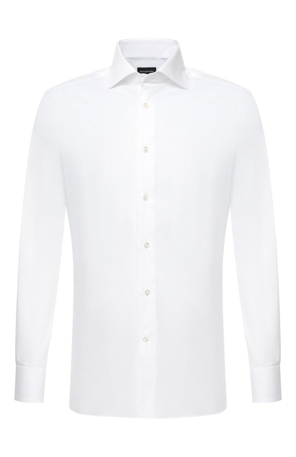 Мужская хлопковая сорочка ERMENEGILDO ZEGNA белого цвета, арт. 801032/9MS0BA   Фото 1