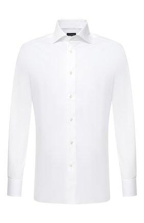 Мужская хлопковая сорочка ERMENEGILDO ZEGNA белого цвета, арт. 801032/9MS0BA | Фото 1