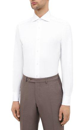 Мужская хлопковая сорочка ERMENEGILDO ZEGNA белого цвета, арт. 801032/9MS0BA   Фото 3