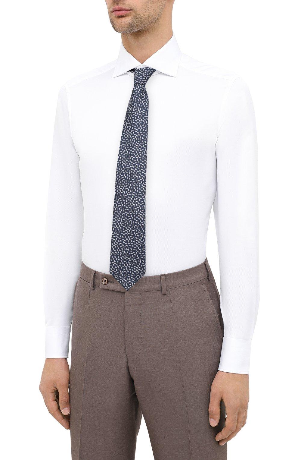 Мужская хлопковая сорочка ERMENEGILDO ZEGNA белого цвета, арт. 801032/9MS0BA   Фото 4