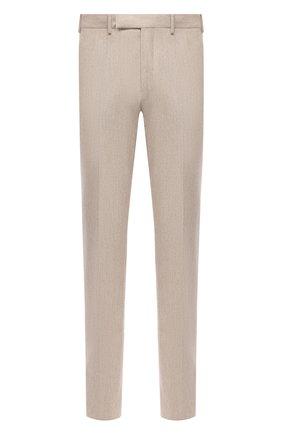 Мужские брюки из шерсти и хлопка ERMENEGILDO ZEGNA бежевого цвета, арт. 857F07/75TB12 | Фото 1
