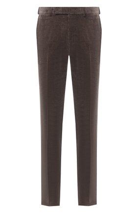 Мужские брюки из хлопка и кашемира ERMENEGILDO ZEGNA коричневого цвета, арт. 865F00/77TB12 | Фото 1
