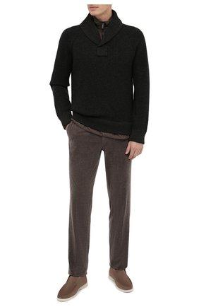 Мужские брюки из хлопка и кашемира ERMENEGILDO ZEGNA коричневого цвета, арт. 865F00/77TB12 | Фото 2