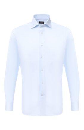 Мужская хлопковая сорочка ERMENEGILDO ZEGNA голубого цвета, арт. 804011/9MS0BA | Фото 1